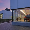 Front of the glazed public museum at Brandon Firehall by Cibinel Architects